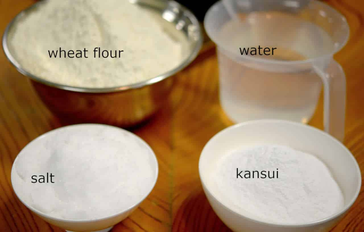 ingredients for ramen noodles, wheat flour, water, salt, and kansui