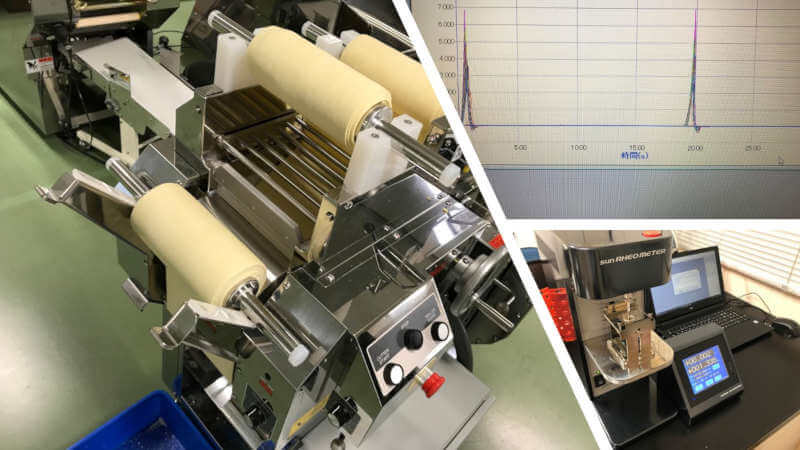 noodles gone through combining processes measured by rheometer