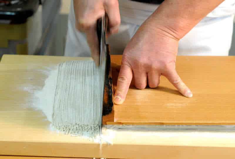 hand-making noodles