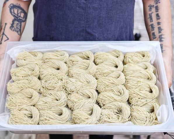 ramen noodles made on a ramen machine