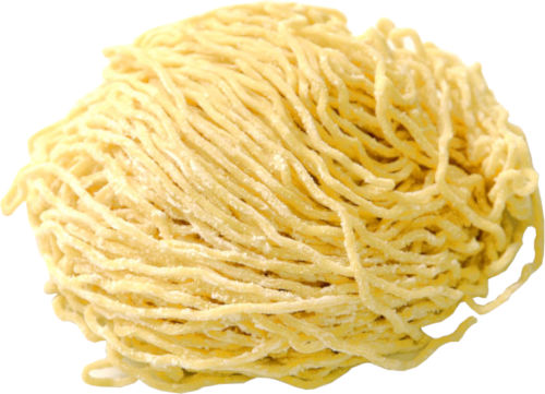 homemade noodles made on a noodle machine
