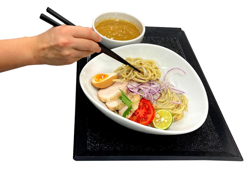 tsukemen noodles on a ramen machine