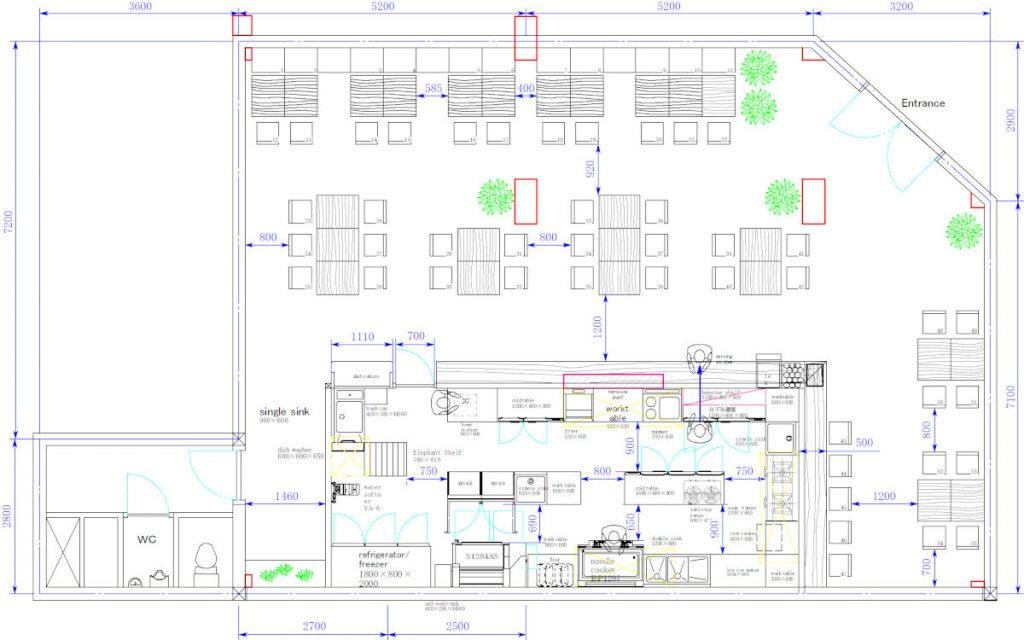udon shop layout